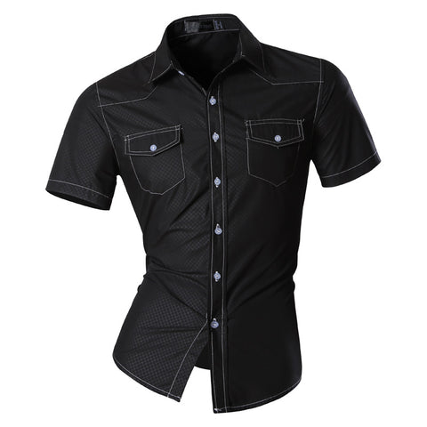 jeansian Men's Fashion Slim Short Sleeves Casual Shirts Dress Shirts Tops Z028