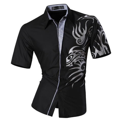 jeansian Men's Fashion Slim Short Sleeves Casual Shirts Dress Shirts Tops Z031