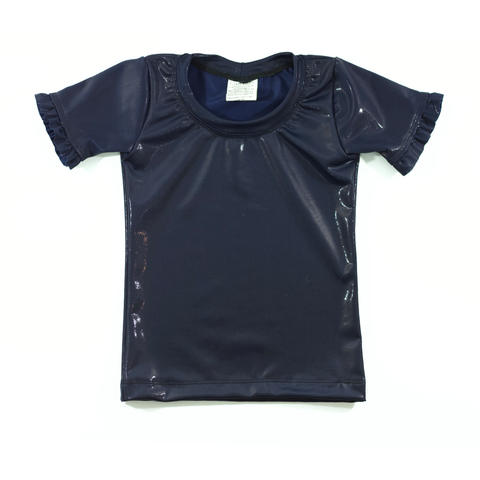 Navy Liquid Fitted Short Ruffle Sleeve Layering Top