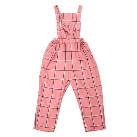 Shy Pink Plaid Jumpsuit • Size 7/8