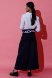 Navy Blue Sailor Pants with Batik Belt