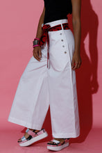 Load image into Gallery viewer, White Sailor Pants with Batik Belt