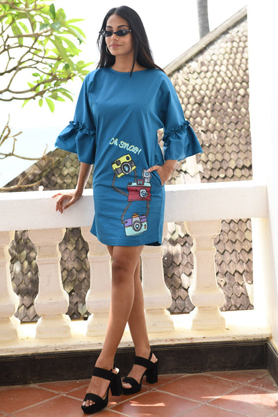 Retro Camera Blue Shift Dress