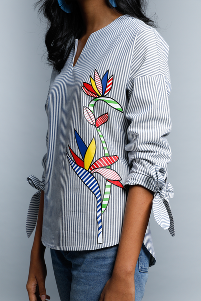 Heliconia Sleeve Tie Up Shirt