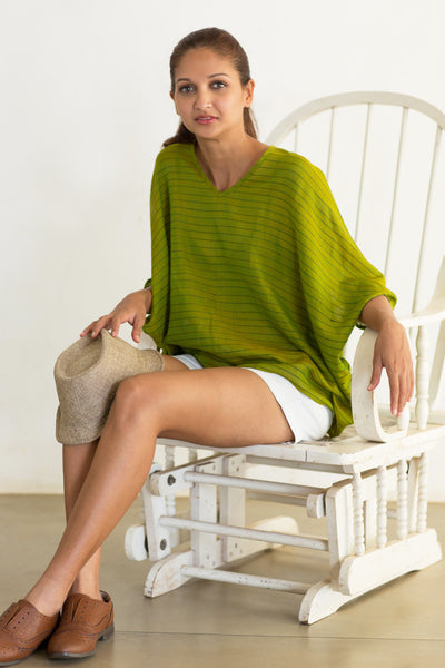 Handloom green tunic top