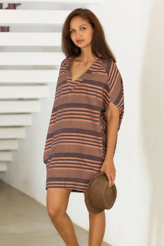 Striped cotton tunic top