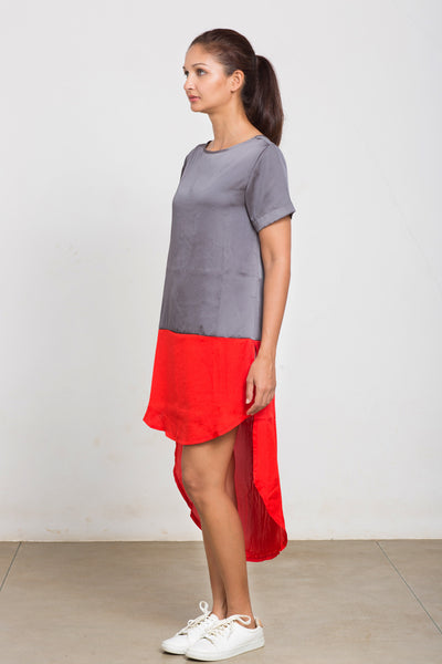 Silk colour block tunic top
