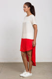 Cream & Red colour block tunic dress