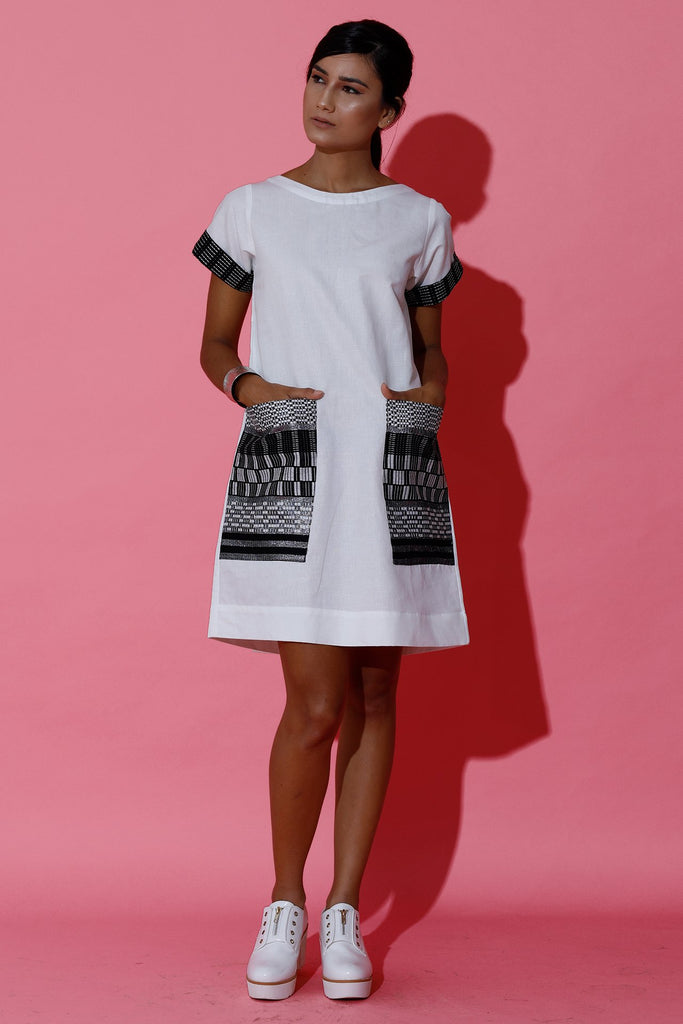 Shift Dress with Hand Woven Oversized Poket