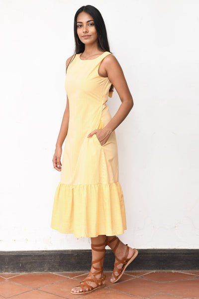 Retro soul back Tie up Midi dress