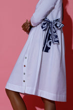 Load image into Gallery viewer, Flaired White Mini Dress with Batik Tie Up
