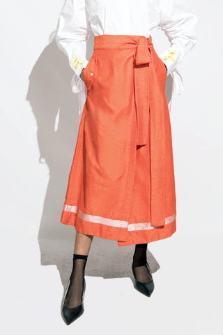 Hanwoven Wrap Skirt -orange