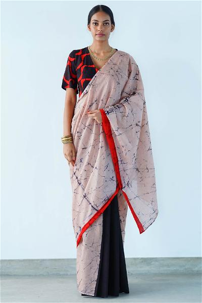 Urban Drape Dahlia Red Batik Saree