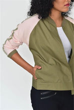 Load image into Gallery viewer, Femme Statement Bomber Jacket