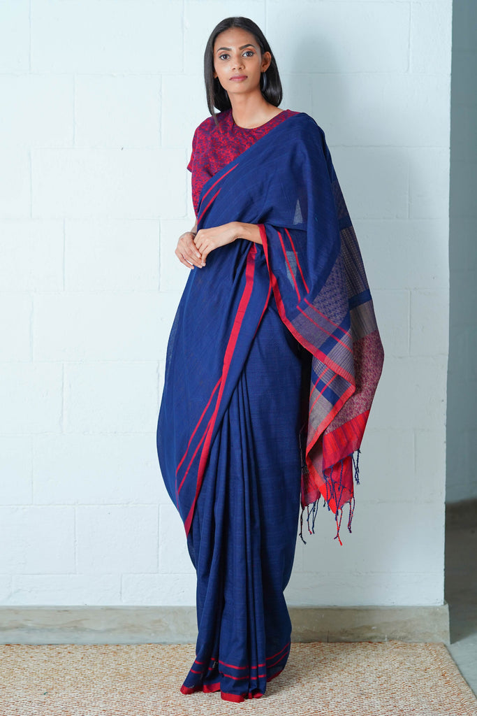 Urban Drape Navy Shimmer Saree
