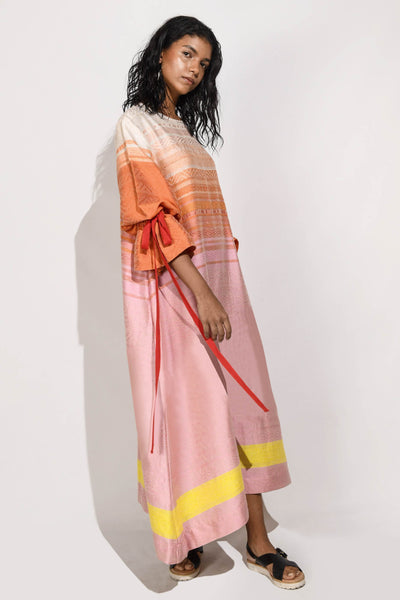 Handwoven  Maxi Dress with Puff Sleeves V3