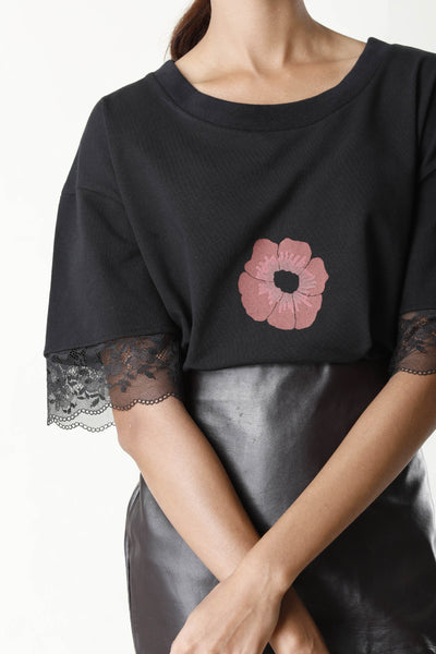 Flower Print Black T-Shirt