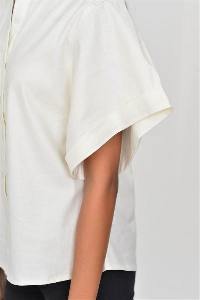 White Out Wide Sleeve Linen Shirt
