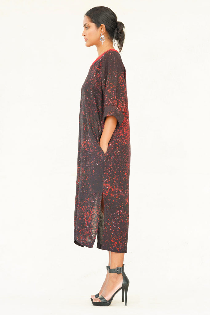 Autumn Rhythm Viscose Batik Dress