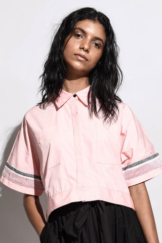 Shirt with Balloon Sleeves & Ties -Dusty pink