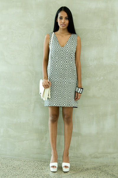 Hand Woven Vneck Shift Dress