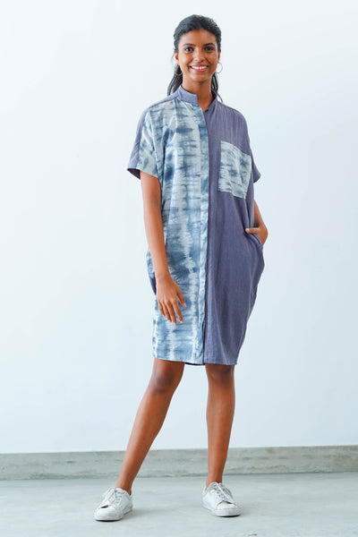 Grey Tie Dye Kaftan Midi Dress