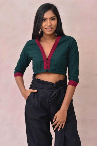 Green Crop Blouse