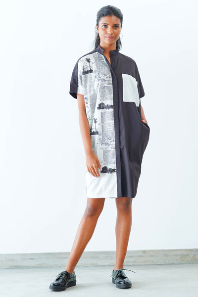 News Paper Printed Midi Dress