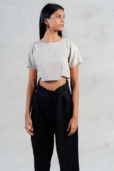 Shortsleeve Grey Crop Top