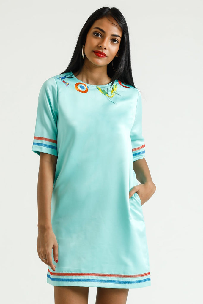 Green shift dress with love embroided typo