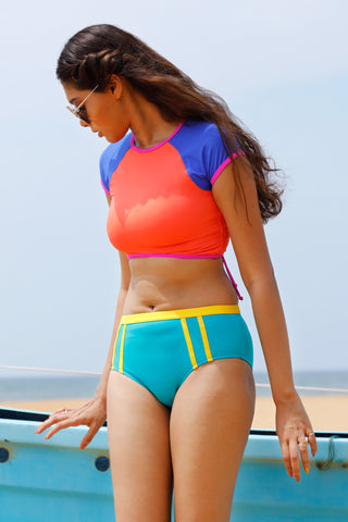 Rum Punch Sporty crop top with removable cups & hip hugger