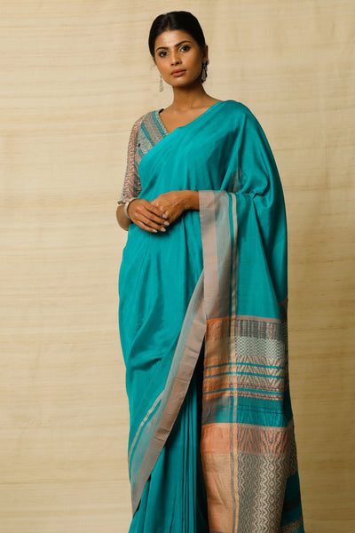 Urban Drape Emerald Teal Saree