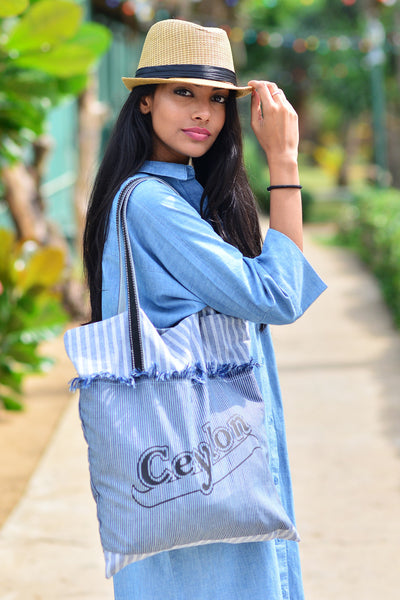 Ceylon Print Denim Tote Bag