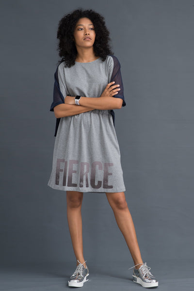 Mesh Panel Jersey Tie- Up dress