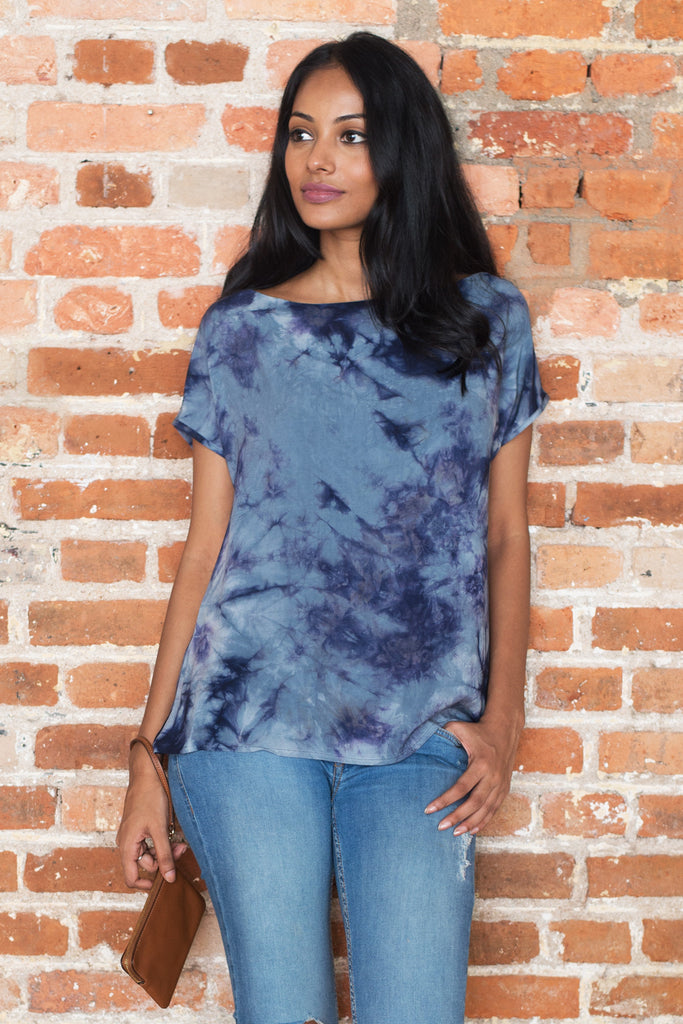 Grey Tie Dye Tunic Top