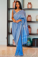 Load image into Gallery viewer, Urban Drape Blue Crystals Saree