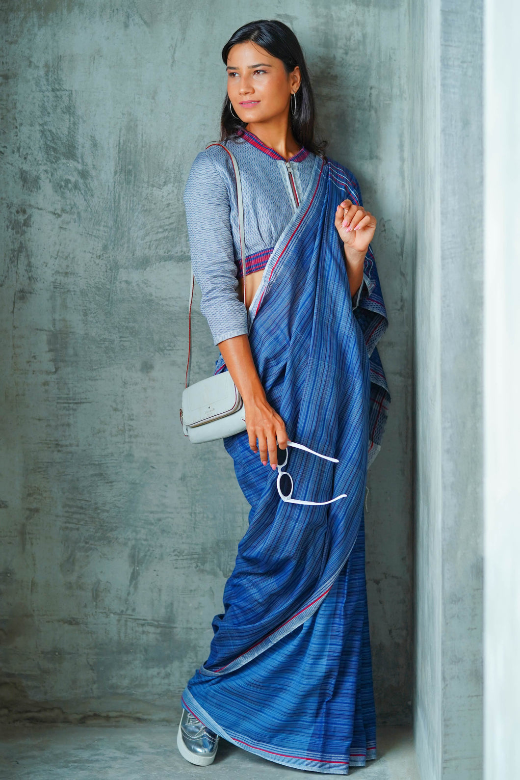 Urban Drape Stone Indigo Denim Saree