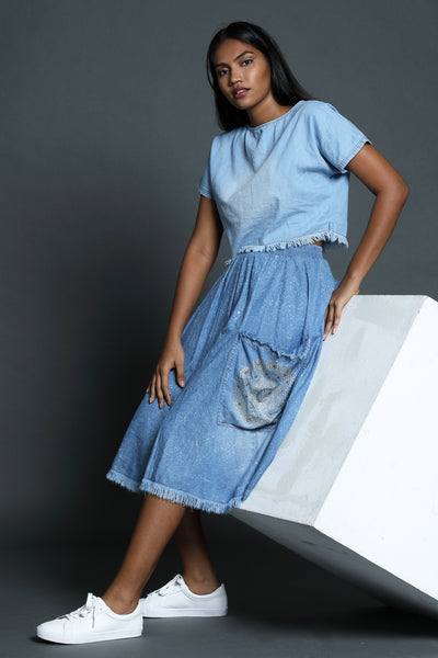 Denim Pleated Midi Skirt