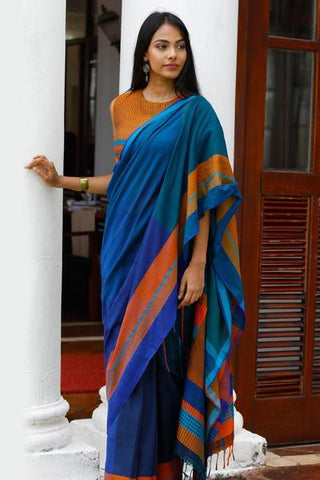 Urban Drape Emerald Feathers Saree