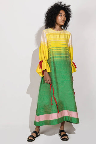 Handwoven  Maxi Dress with Puff Sleeves V1