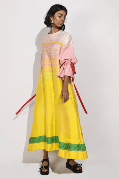 Handwoven  Maxi Dress with Puff Sleeves V4