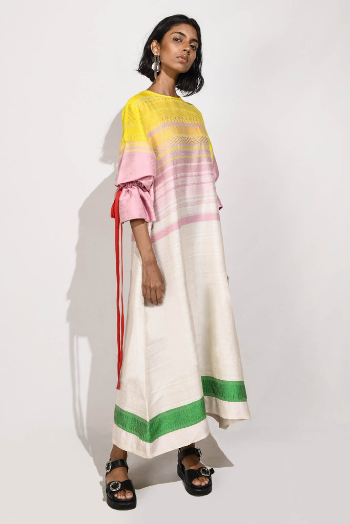 Handwoven  Maxi Dress with puff sleeves V2