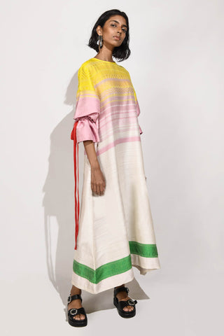 Handwoven  Maxi Dress with puff sleeves