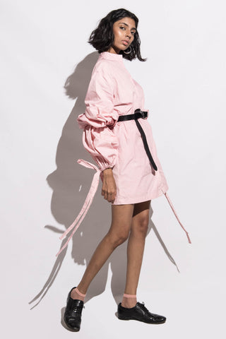 Dress with Balloon Sleeves & Ties-pink