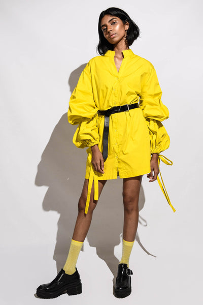 Dress with Balloon Sleeves & Ties-yellow