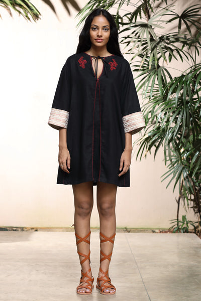 Embroidered- Linen mini dress with handbloom cuffs
