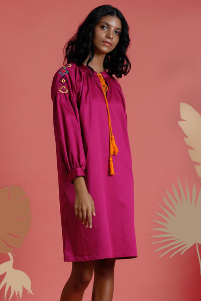 Mojave Bloom Long sleeves dress With Embroidery
