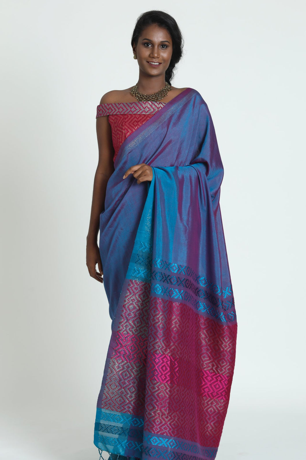 Urban Drape Teal Plum Saree - Fashion Market.LK