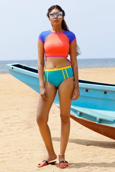 Rum Punch Rouched crop top with sleeves, non padded & high waist