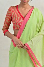 Load image into Gallery viewer, Urban Drape Leaf Green Punch Saree